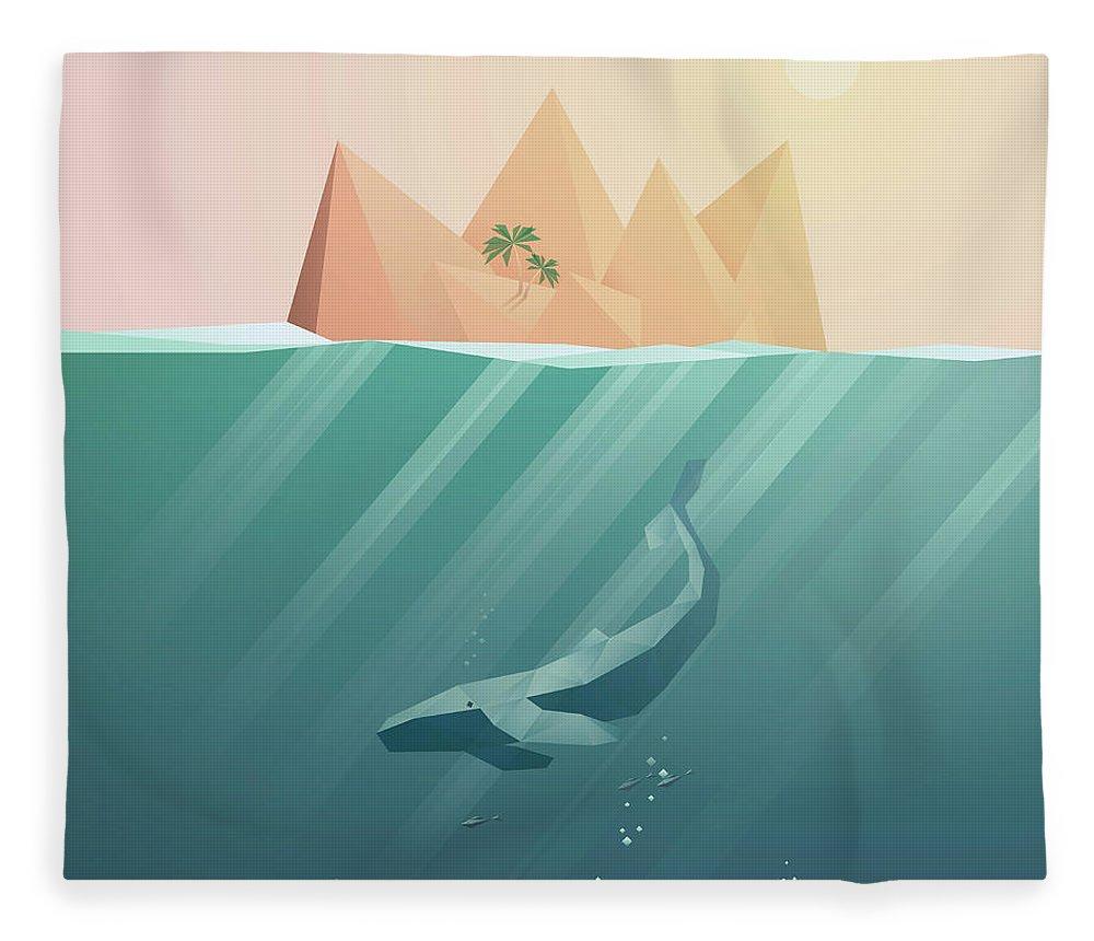 Underwater Fleece Blanket featuring the digital art Summer Background With Underwater by Jozefmicic