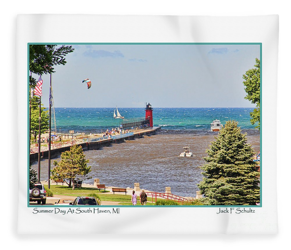 South Haven Fleece Blanket featuring the photograph Summer Day At South Haven Mi by Jack Schultz
