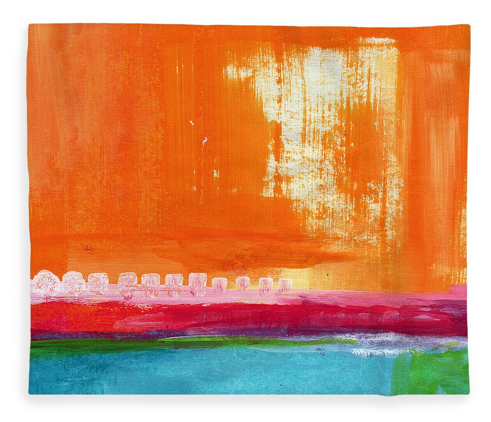 Orange Abstract Art Fleece Blanket featuring the painting Summer Picnic- colorful abstract art by Linda Woods