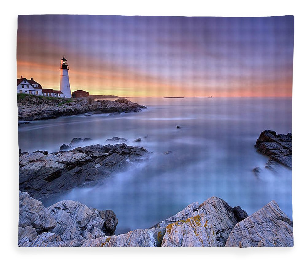 Tranquility Fleece Blanket featuring the photograph Summer Sunset At The Portland Head Light by Katherine Gendreau Photography