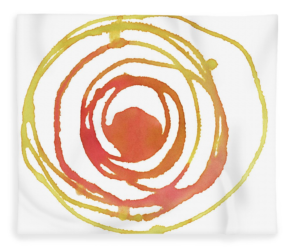 Watercolor Painting Fleece Blanket featuring the digital art Sun Circle Abstract Water Color Paint by 4khz
