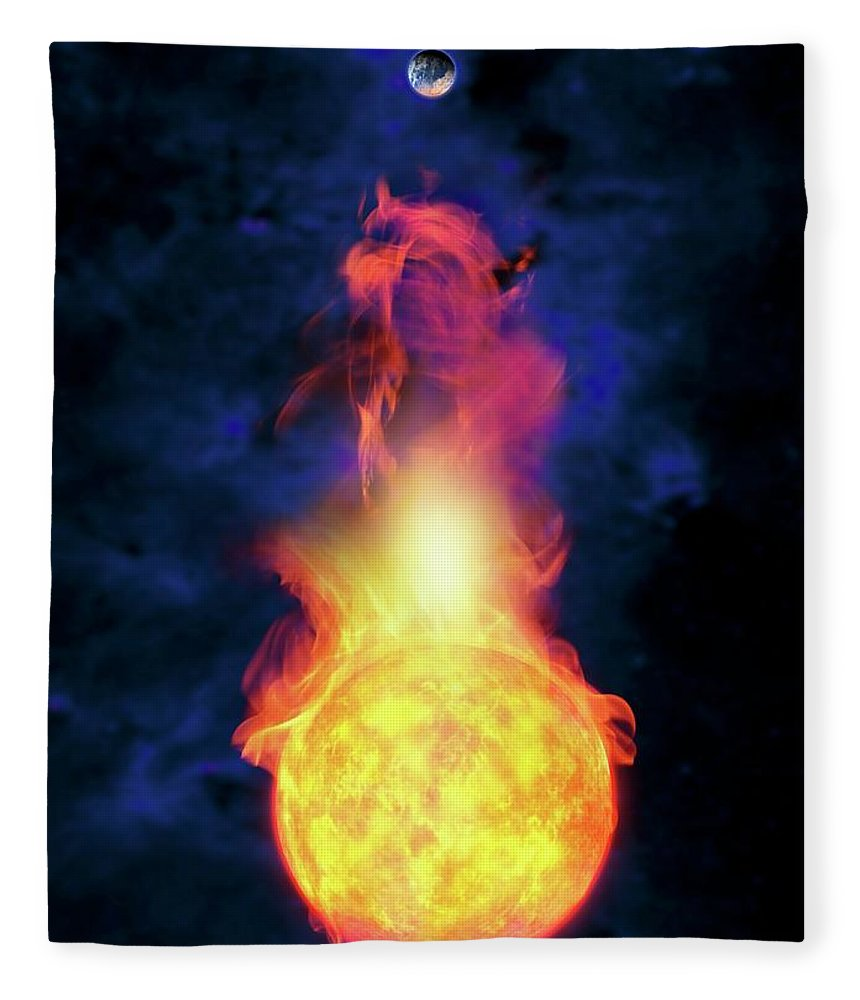 Solar System Fleece Blanket featuring the digital art Sun Engulfing The Earth, Artwork by Victor Habbick Visions