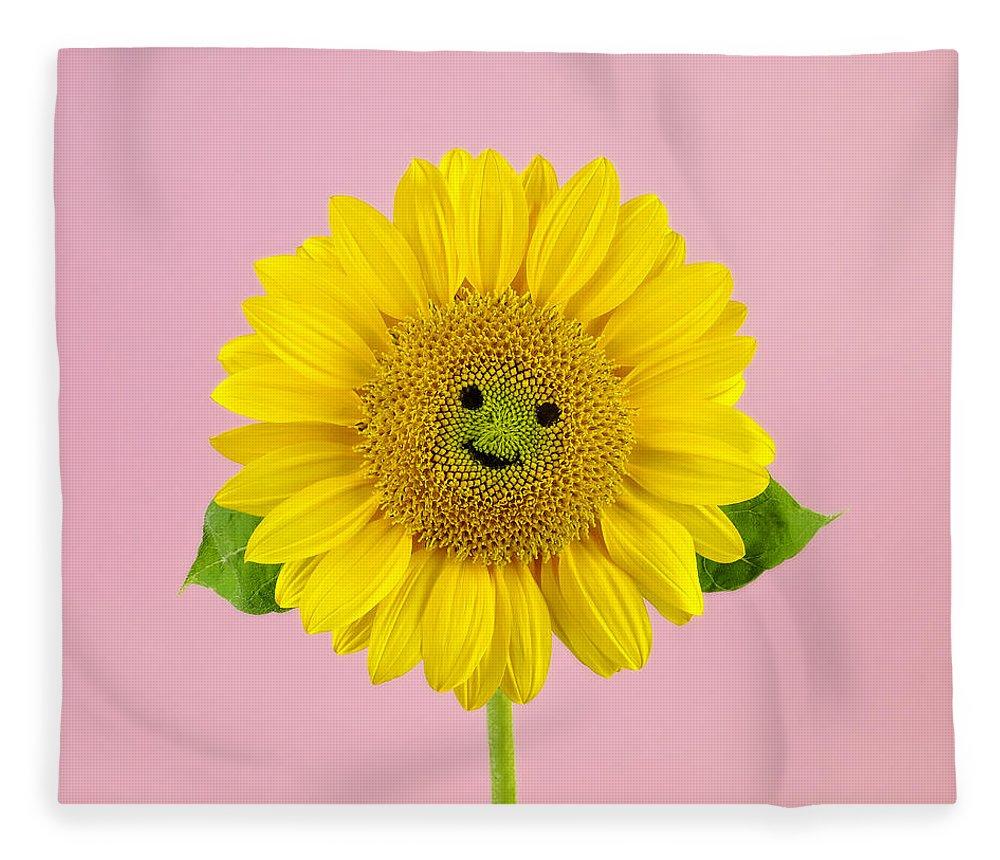 Yellow Fleece Blanket featuring the photograph Sunflower Smiley Face by Juj Winn