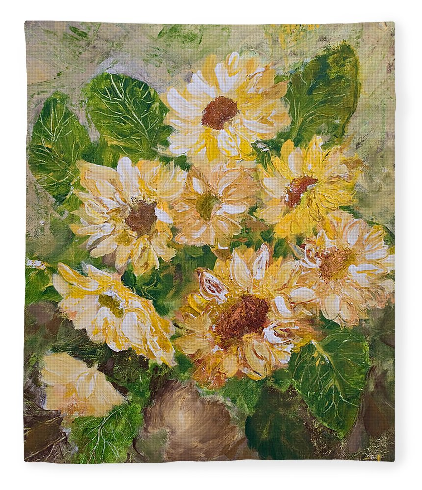 Sunflowers Fleece Blanket featuring the painting Sunflowers Forever by Jo Smoley
