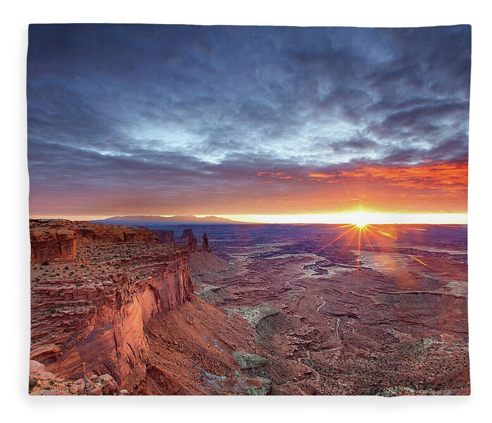 Tranquility Fleece Blanket featuring the photograph Sunrise At Canyonlands by Hansrico Photography