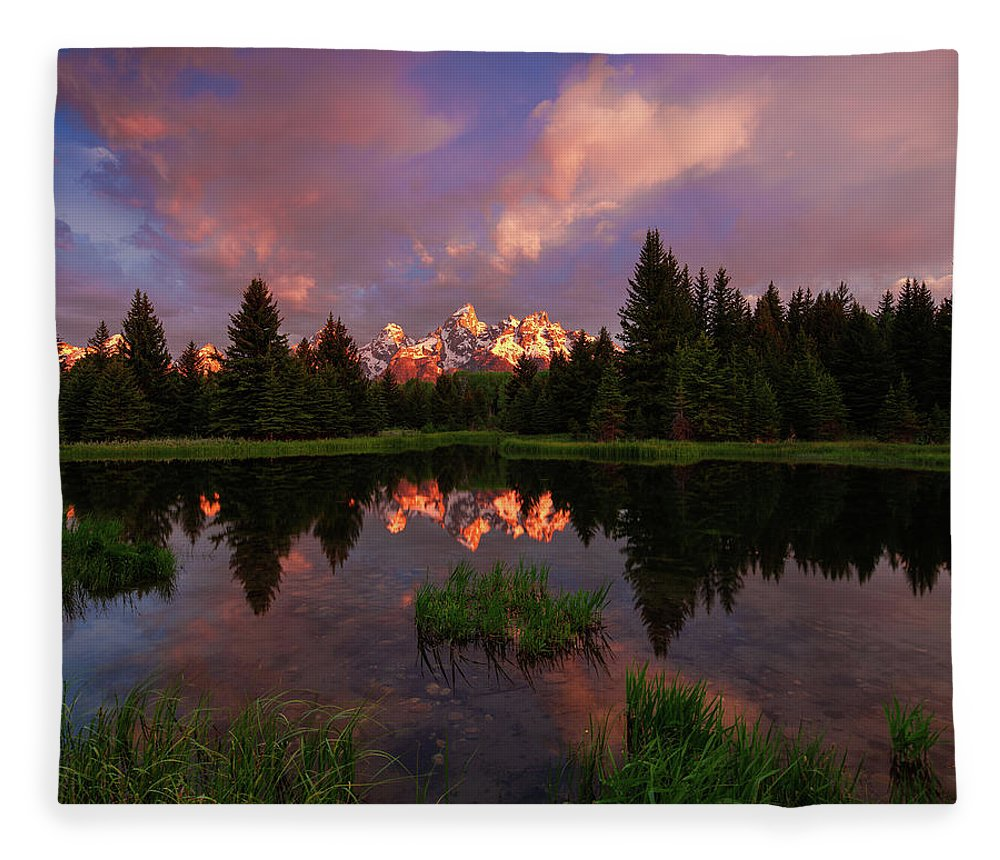 Tranquility Fleece Blanket featuring the photograph Sunrise At Schwabacher Landing by Hansrico Photography