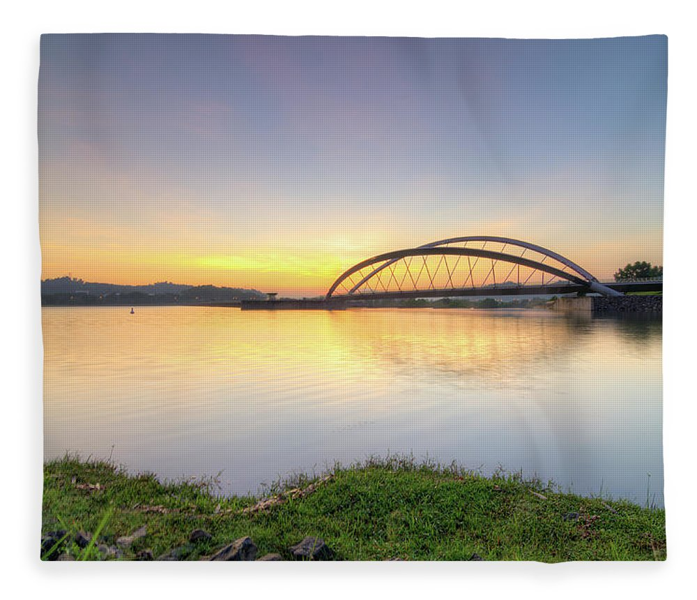Tranquility Fleece Blanket featuring the photograph Sunrise by Mohamad Zaidi Photography