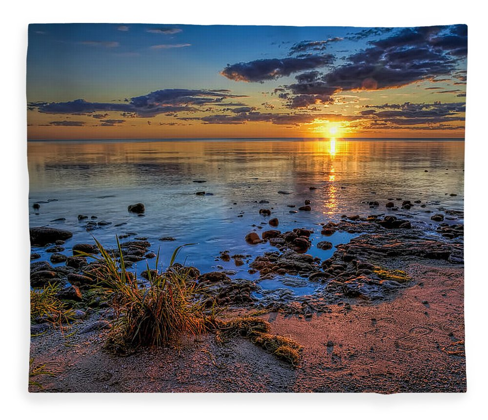 Sun Fleece Blanket featuring the photograph Sunrise over Lake Michigan by Scott Norris