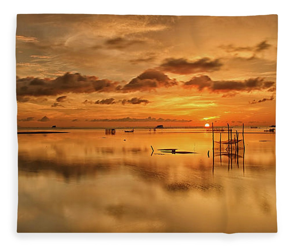 Scenics Fleece Blanket featuring the photograph Sunrise, Phu Quoc, Vietnam by Huyenhoang