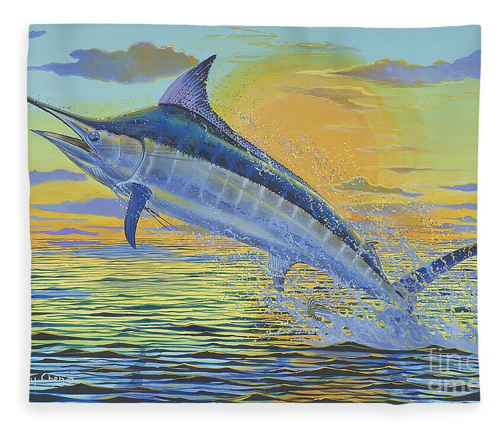 Blue Marlin Fleece Blanket featuring the painting Sunset Blue Off0085 by Carey Chen