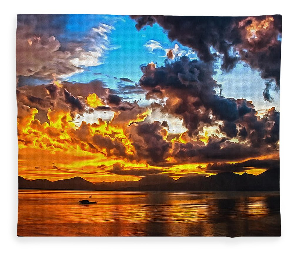 Sunset Fleece Blanket featuring the digital art Sunset Boating by Georgiana Romanovna