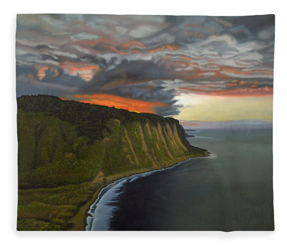 Waipio Lookout Fleece Blanket featuring the painting Sunset In Paradise by Thu Nguyen