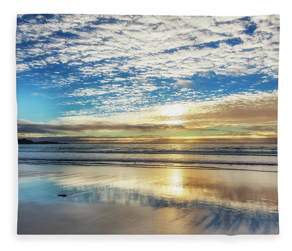 Tranquility Fleece Blanket featuring the photograph Sunset On Carmel Beach, California by Alvis Upitis