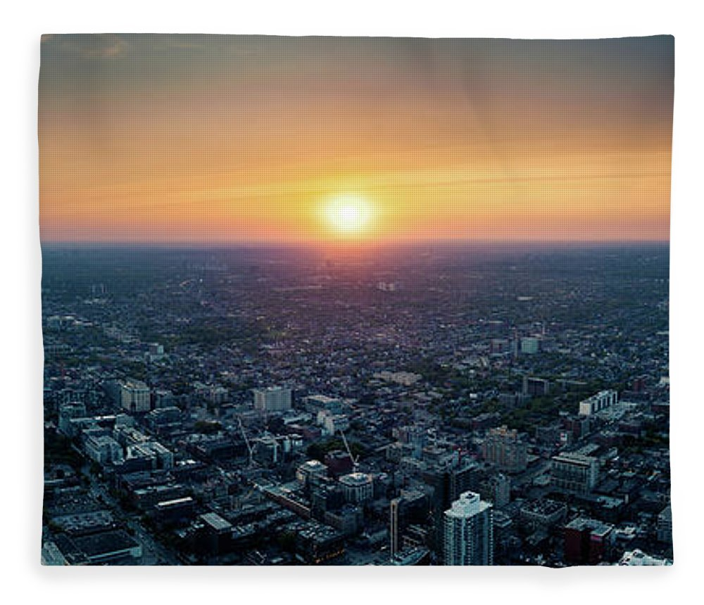 Downtown District Fleece Blanket featuring the photograph Sunset Over Toronto Downtown City by D3sign