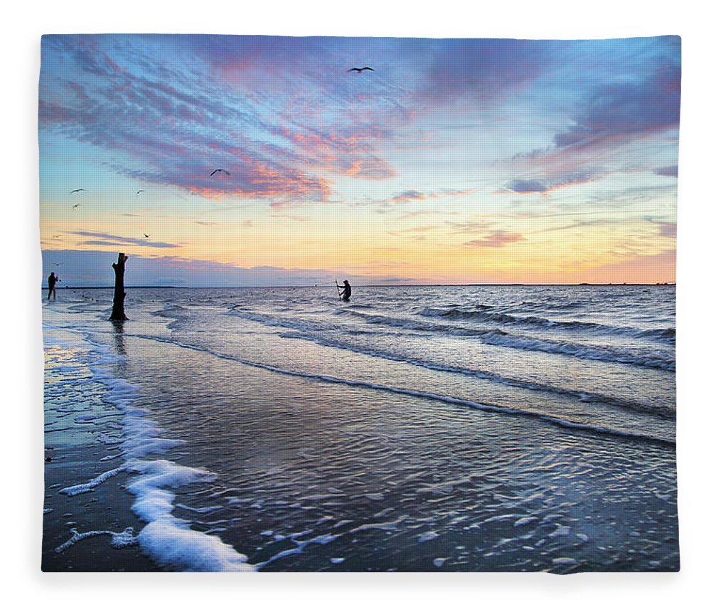 Sunset Fleece Blanket featuring the photograph Sunset Paradise Jekyll Island by Betsy Knapp
