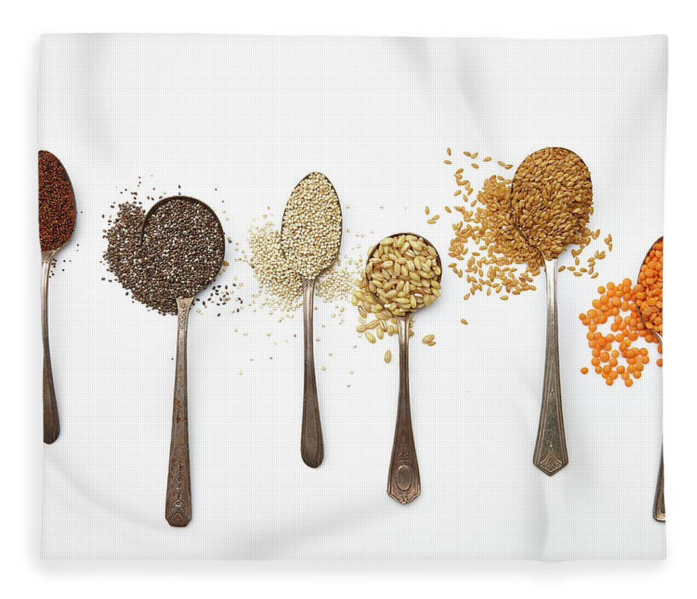 White Background Fleece Blanket featuring the photograph Super Food Grains by Lew Robertson
