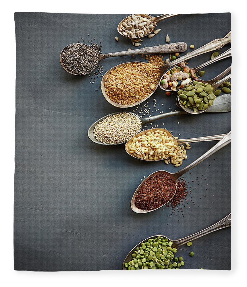In A Row Fleece Blanket featuring the photograph Super Food Grains On Spoons by Lew Robertson