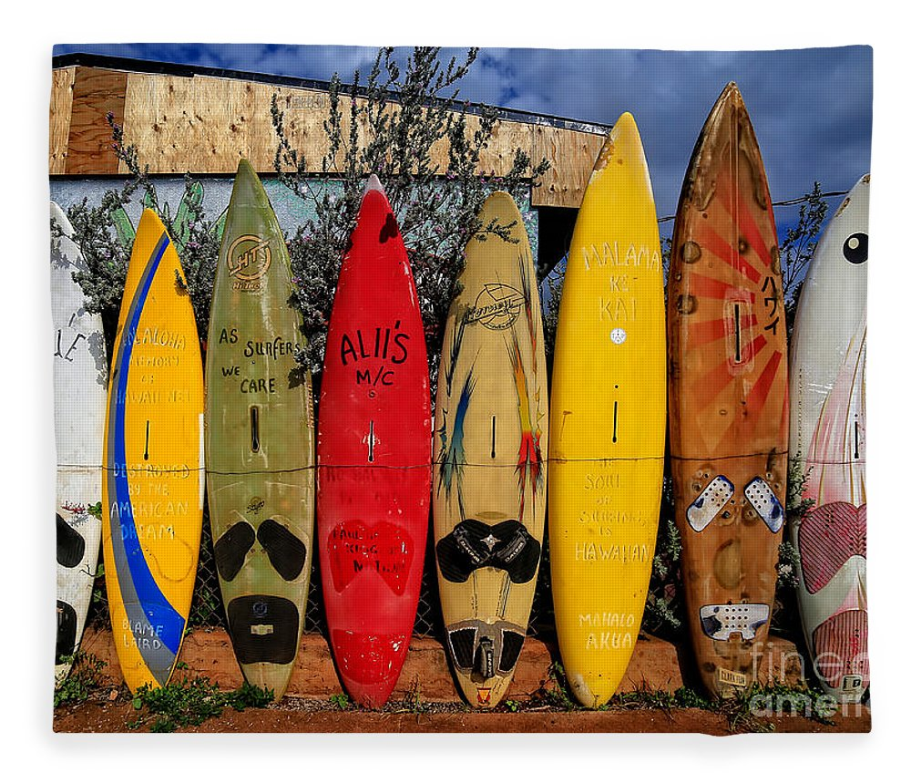Surf Fleece Blanket featuring the photograph Surf Board Fence Maui Hawaii by Edward Fielding