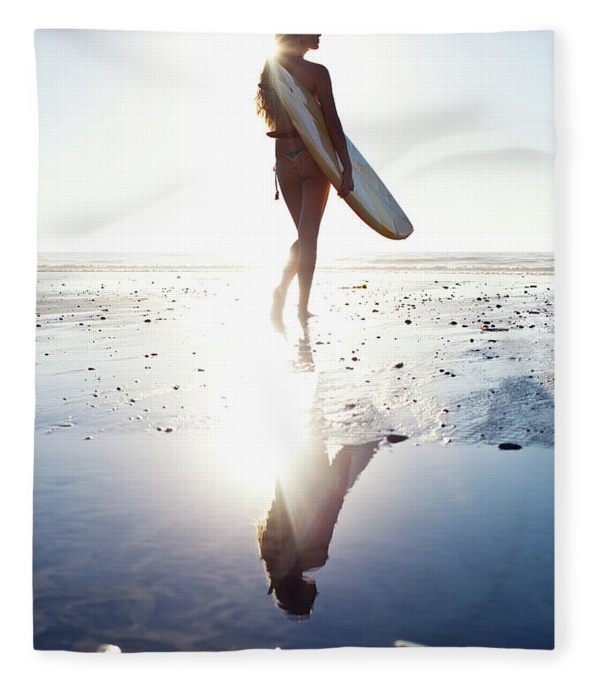 Youth Culture Fleece Blanket featuring the photograph Surfer Girl by Ianmcdonnell