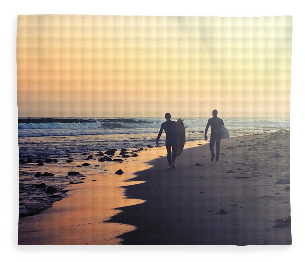 Water's Edge Fleece Blanket featuring the photograph Surfing Rincon Point Surfers Beach by Amparo E. Rios