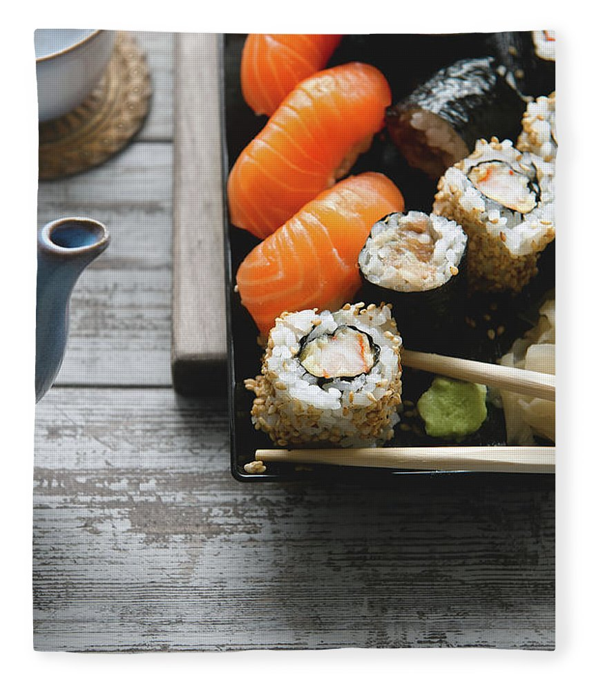 Seaweed Fleece Blanket featuring the photograph Sushi And Tea by A.y. Photography