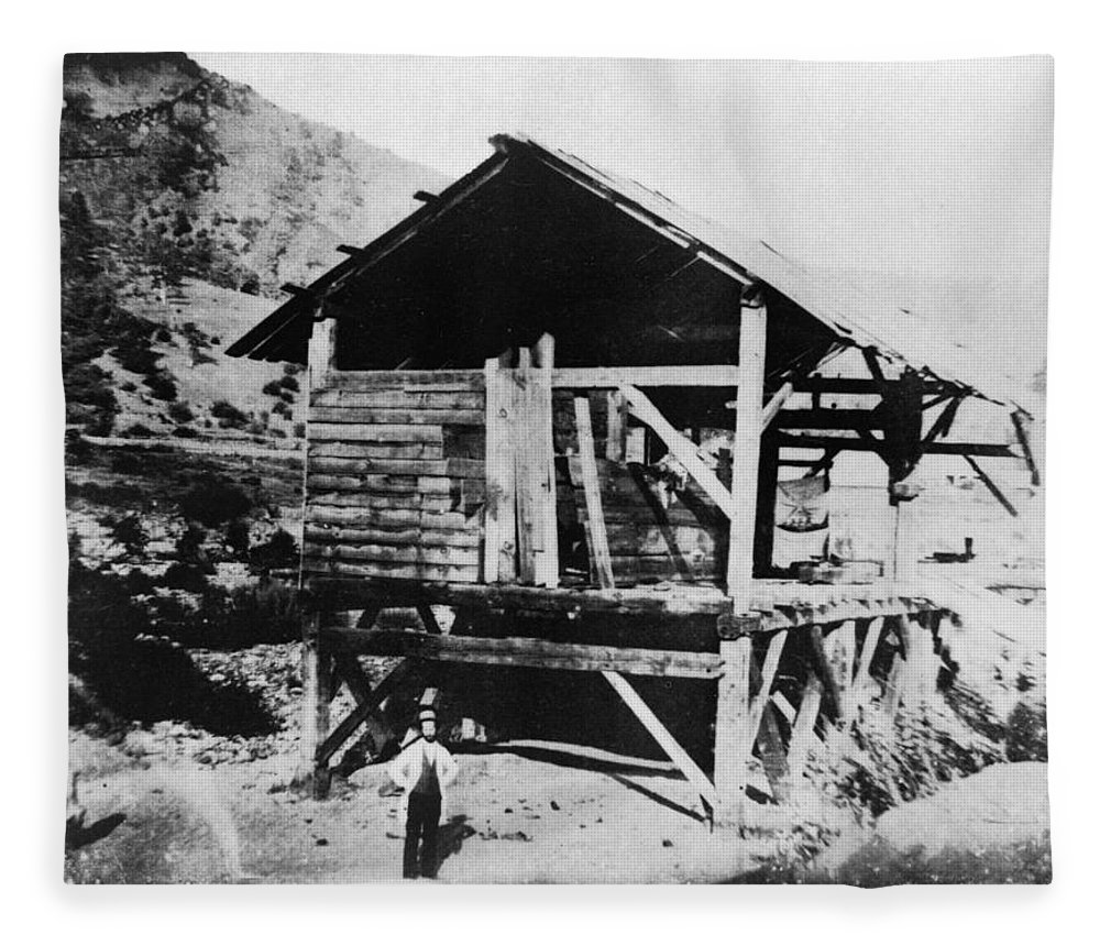 1850 Fleece Blanket featuring the photograph Sutter's Mill, C1850 by Granger