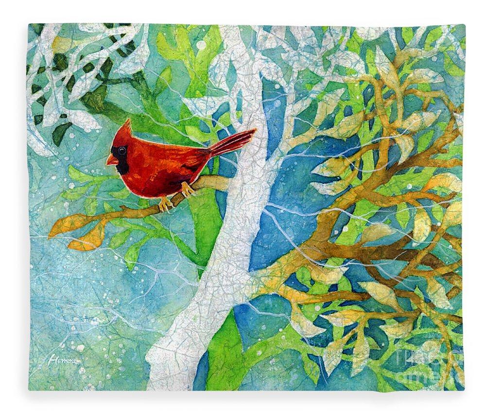Cardinal Fleece Blanket featuring the painting Sweet Memories II by Hailey E Herrera