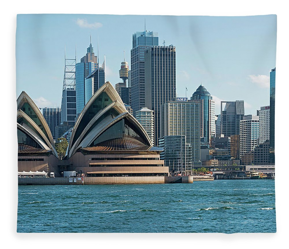 Built Structure Fleece Blanket featuring the photograph Sydney Opera House And Waterfront by Marco Simoni