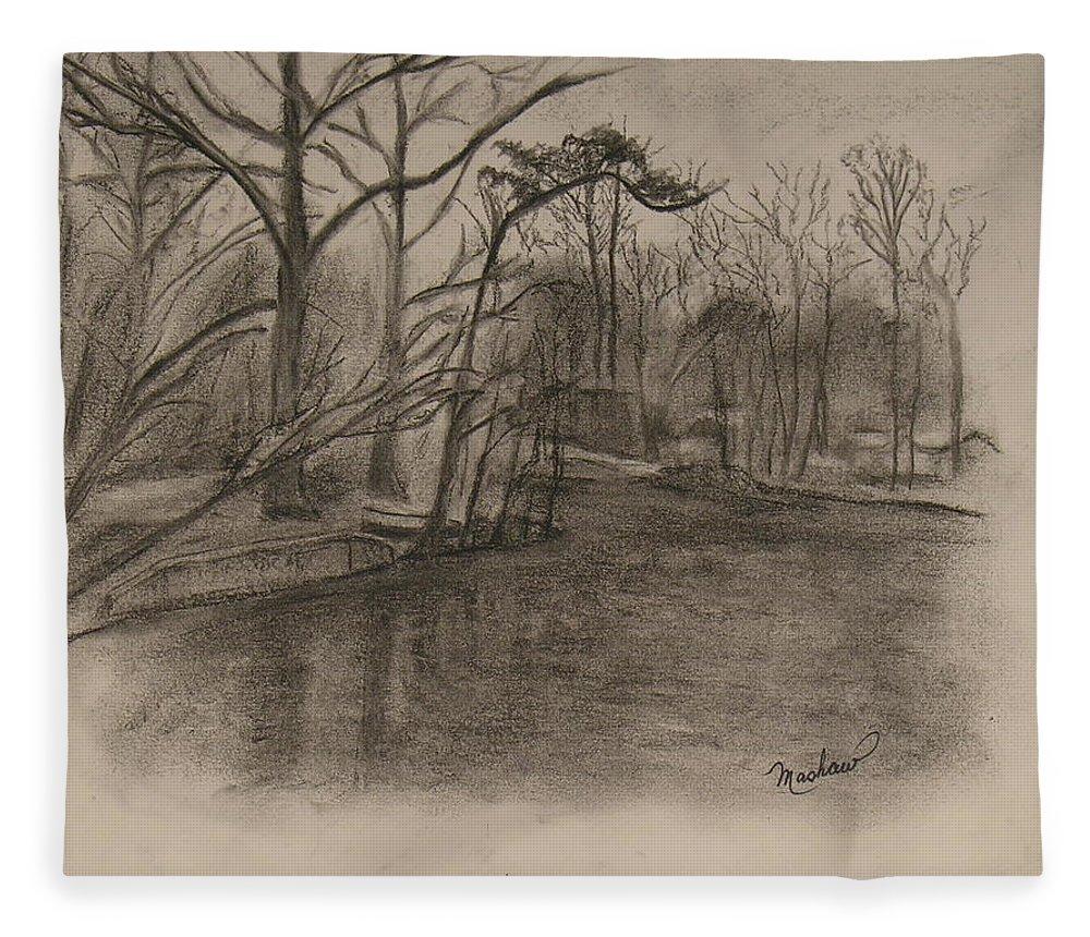Sylvan Lake Fleece Blanket featuring the painting Sylvan Lake Plein Aire by Sheila Mashaw