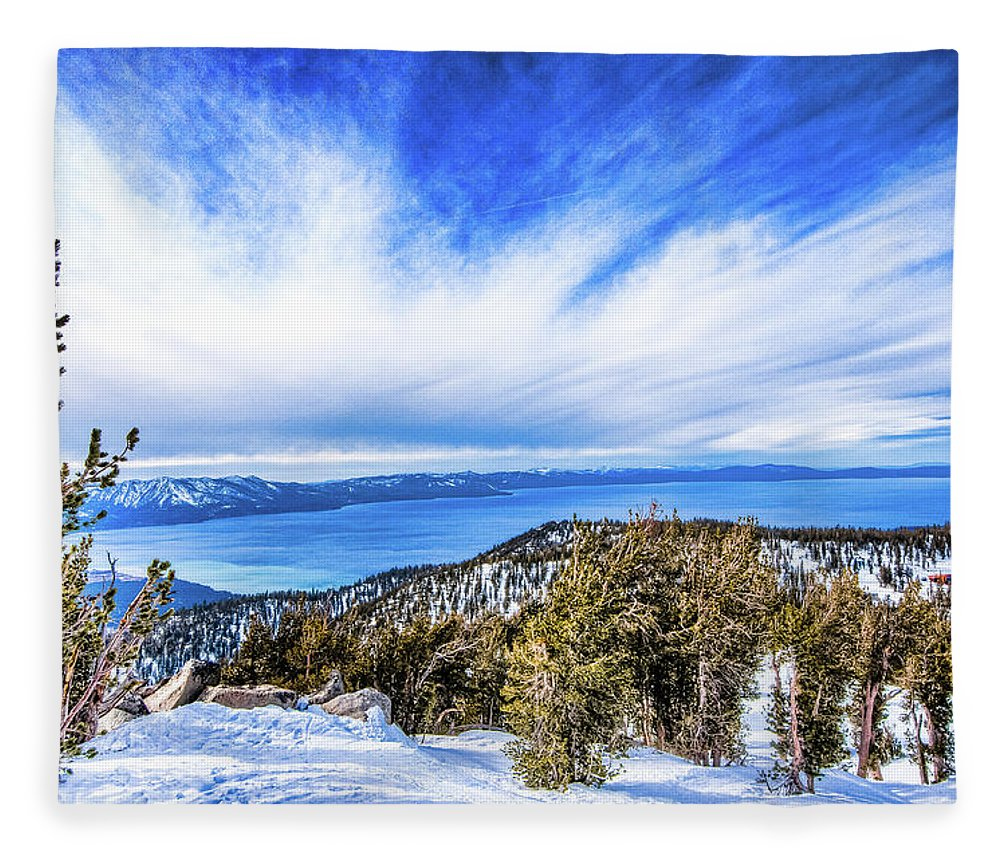 Scenics Fleece Blanket featuring the photograph Tahoe From Heavenly by Peter Stasiewicz