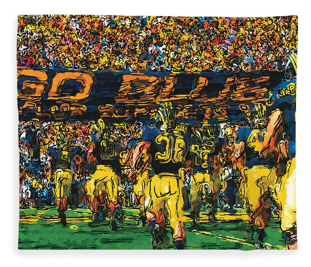 University Of Michigan Fleece Blanket featuring the painting Take The Field by John Farr