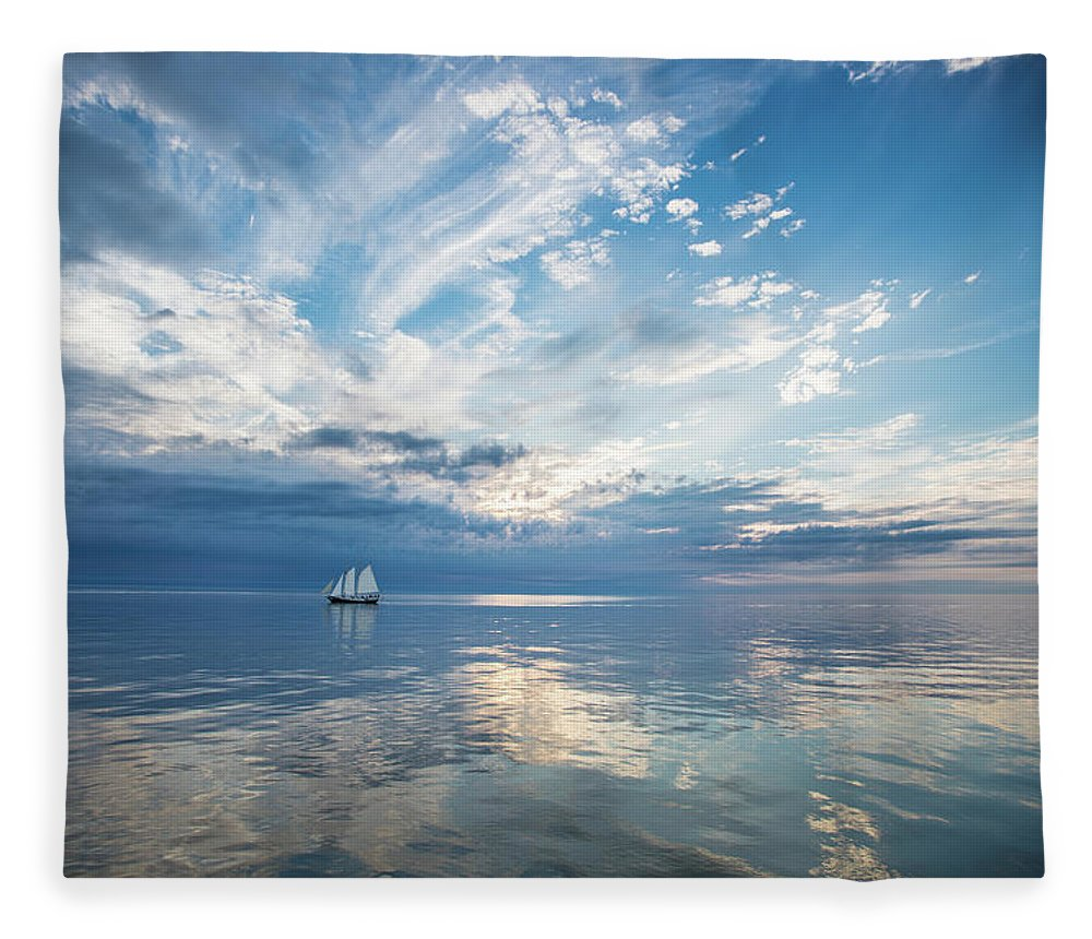 Tranquility Fleece Blanket featuring the photograph Tall Ship On The Big Lake by Rudy Malmquist