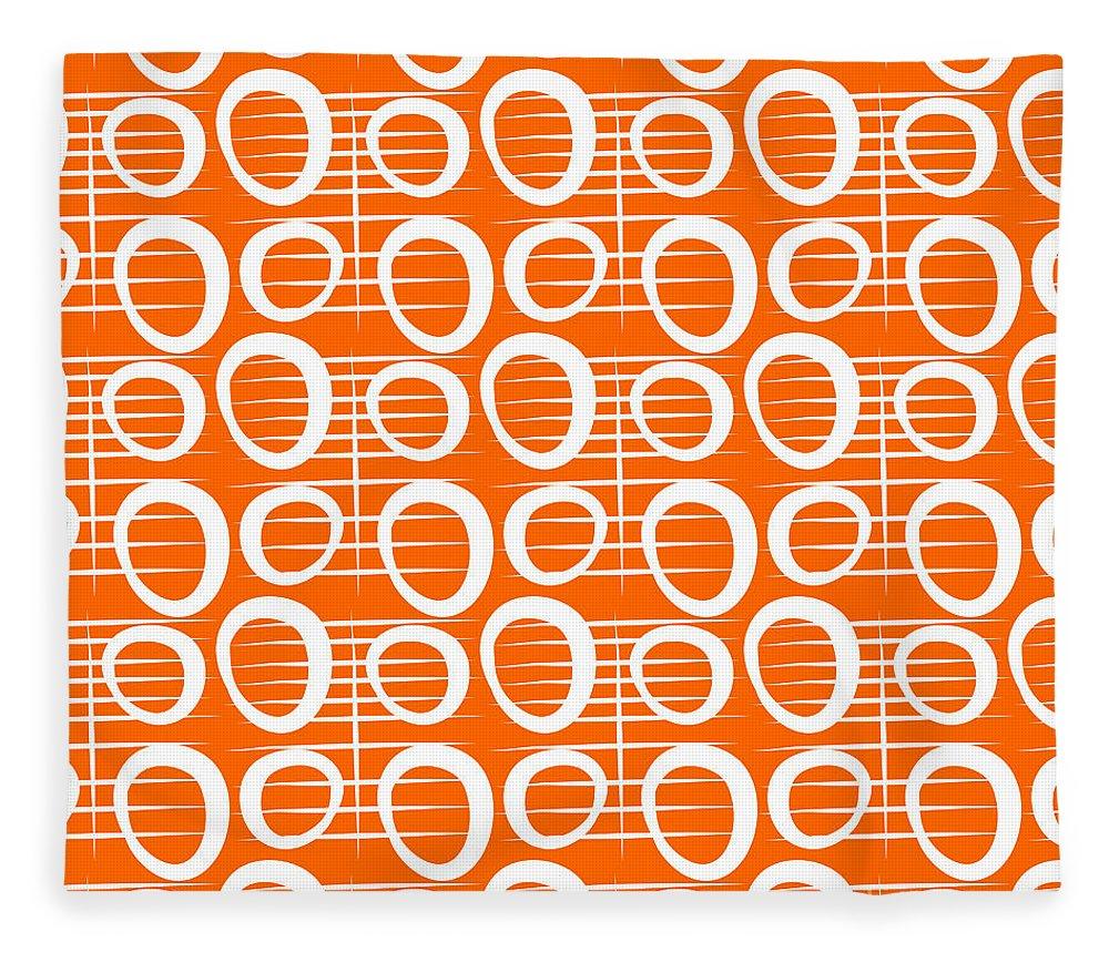 Abstract Fleece Blanket featuring the painting Tangerine Loop by Linda Woods