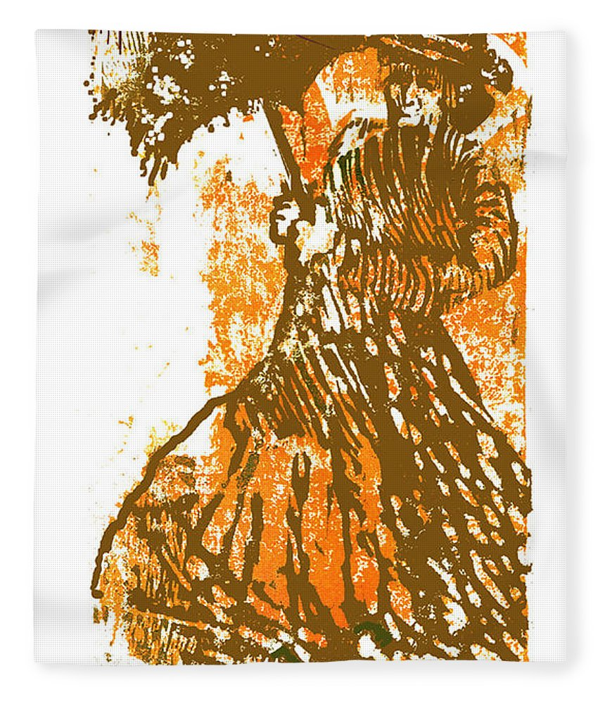 Tattered Parasol Fleece Blanket featuring the drawing Tattered Parasol by Seth Weaver