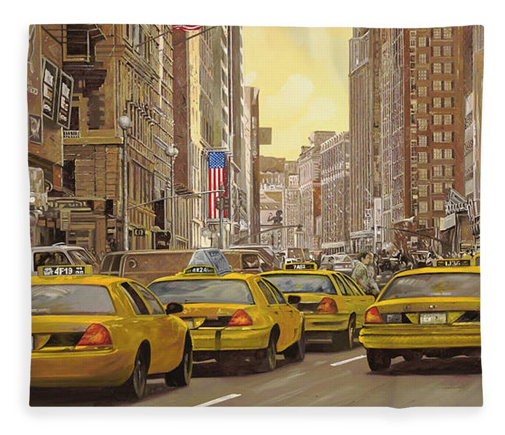 New York Fleece Blanket featuring the painting yellow taxi in NYC by Guido Borelli