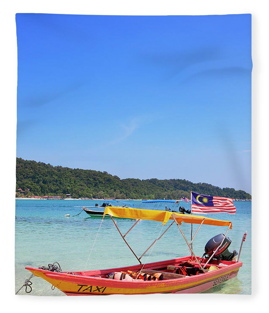 Tranquility Fleece Blanket featuring the photograph Taxi Boat, Perhentian Islands by Laurie Noble