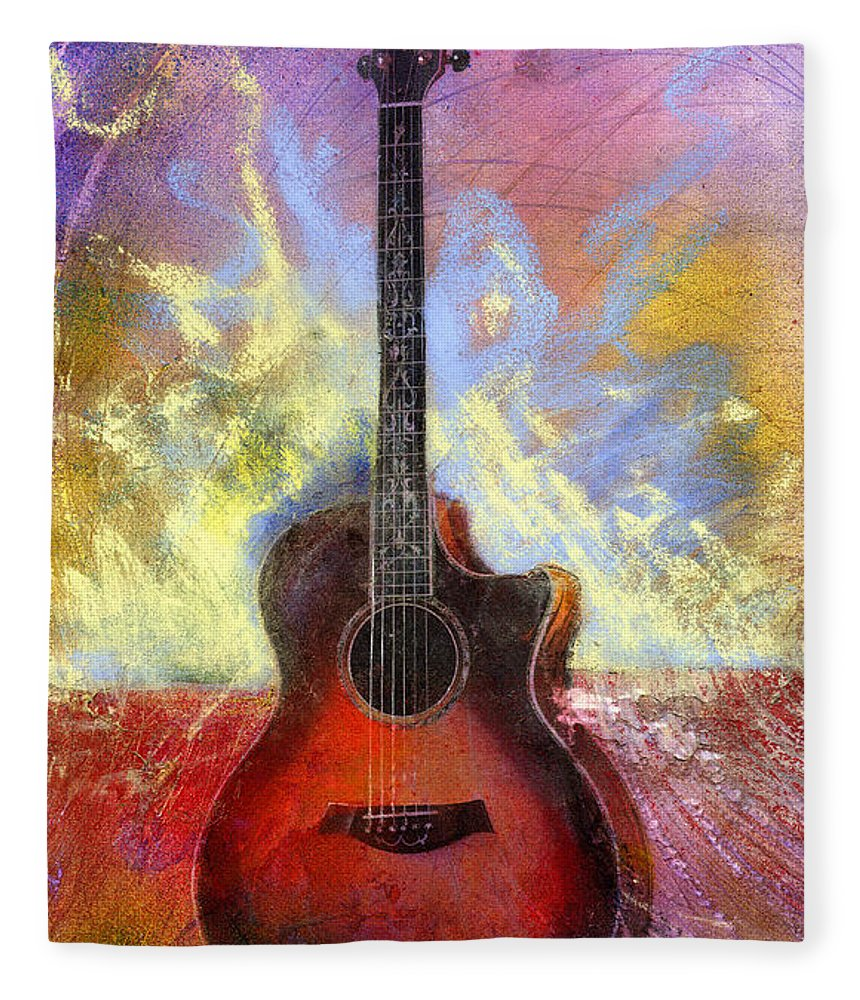 Guitar Fleece Blanket featuring the painting Taylor by Andrew King