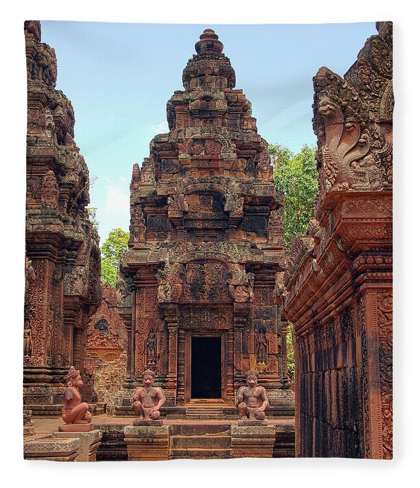 Cambodian Culture Fleece Blanket featuring the photograph Temple by William Childress