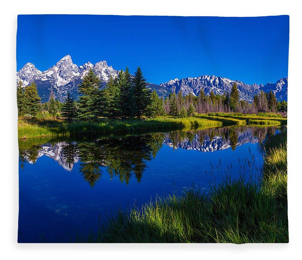 Teton Reflection Fleece Blanket featuring the photograph Teton Reflection by Chad Dutson