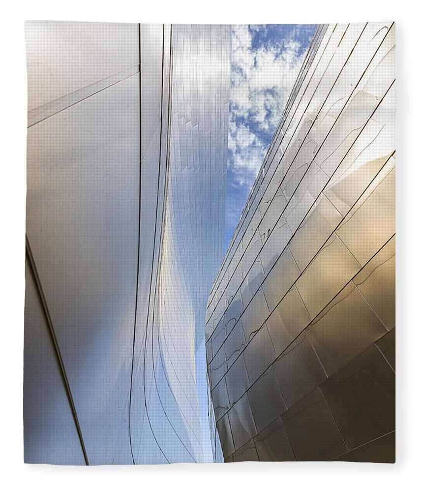 Walt Disney Concert Hall Fleece Blanket featuring the photograph The Abstract Curves Of The Disney Concert Hall by Angela Stanton