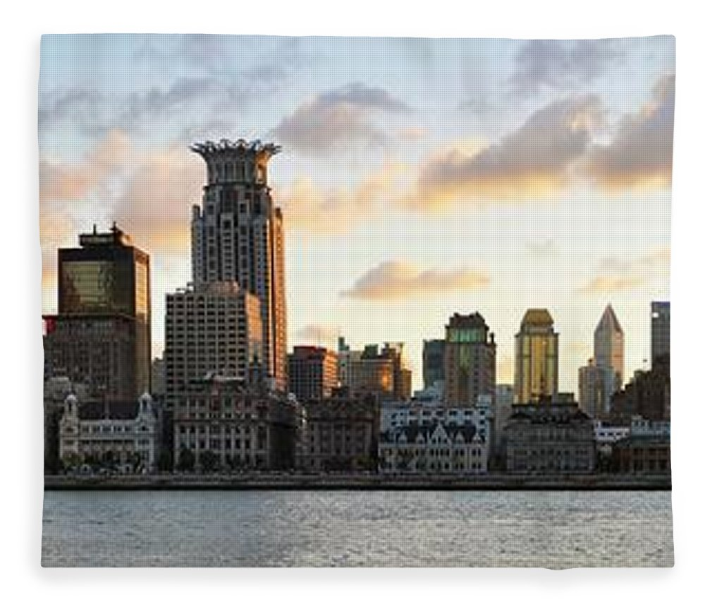 Panoramic Fleece Blanket featuring the photograph The Afternoon Of The Bund Buildings by Fine