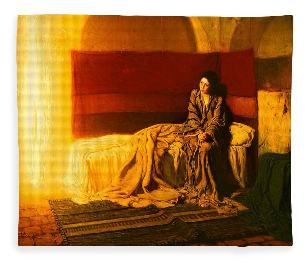 Painting Fleece Blanket featuring the painting The Annunciation by Mountain Dreams