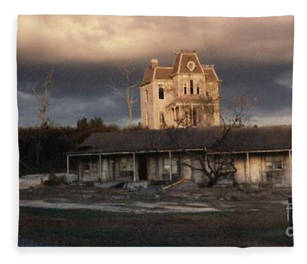 Photograph Fleece Blanket featuring the photograph The Bates Motel At Universal Studios Florida by Marian Bell