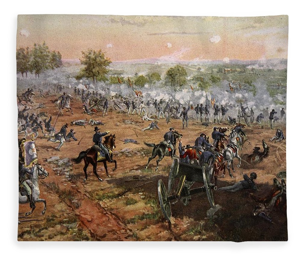 Attack Fleece Blanket featuring the drawing The Battle Of Gettysburg, July 1st-3rd by Henry Alexander Ogden