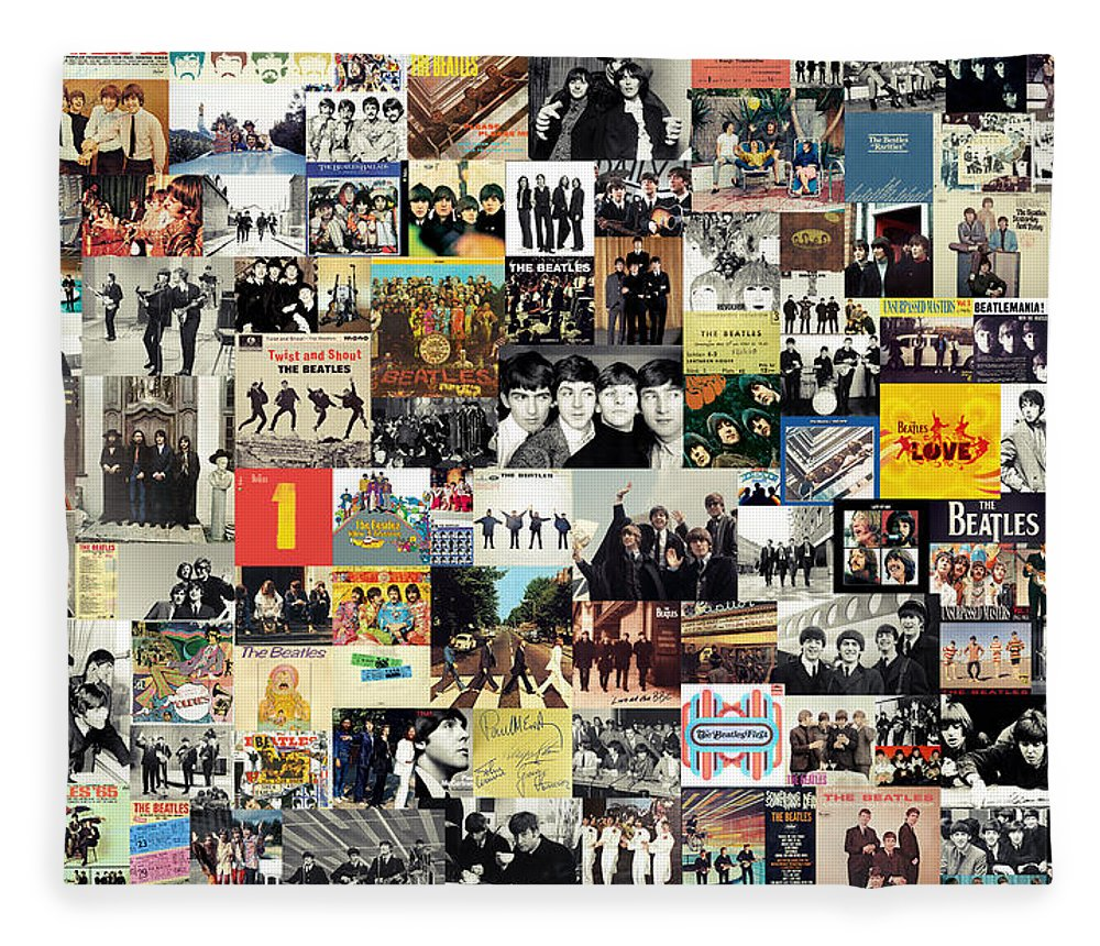 The Beatles Fleece Blanket featuring the digital art The Beatles Collage by Zapista OU