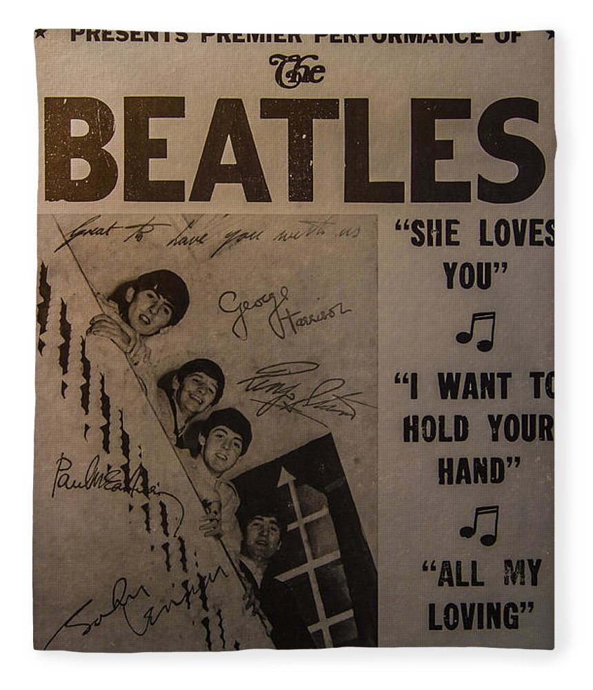 The Beatles Ed Sullivan Show Poster Fleece Blanket featuring the photograph The Beatles Ed Sullivan Show Poster by Mitch Shindelbower