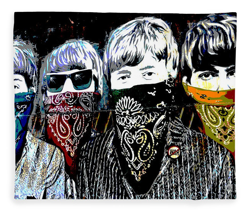 Banksy Fleece Blanket featuring the photograph The Beatles wearing face masks by RicardMN Photography