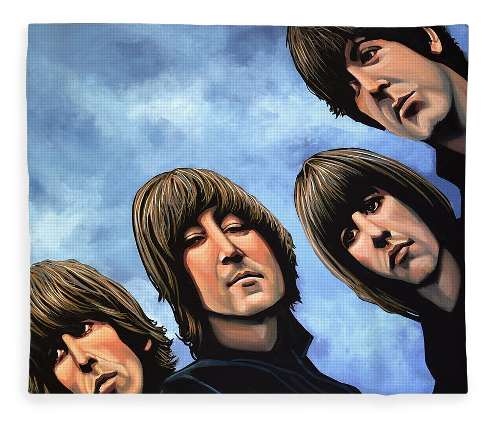 The Beatles Fleece Blanket featuring the painting The Beatles Rubber Soul by Paul Meijering