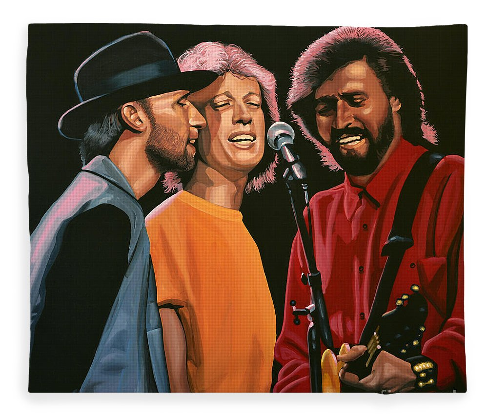 The Bee Gees Fleece Blanket featuring the painting The Bee Gees by Paul Meijering