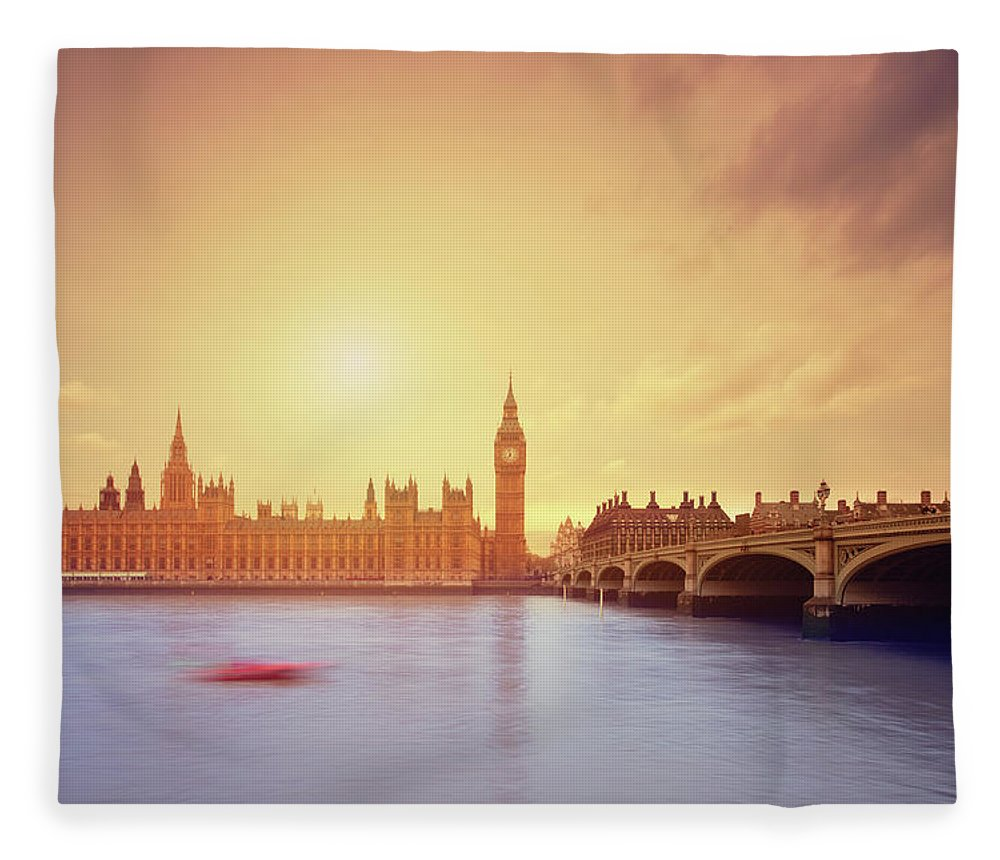 Clock Tower Fleece Blanket featuring the photograph The Big Ben And Parliament In London by Mammuth